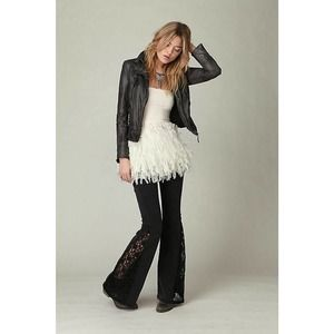 Free People Lace Inset Flare Distress Black Jeans